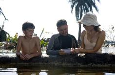 Naomi Watts and Juan Antonio Bayona during filming of The Impossible